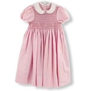 Just Friends Smocked Pink & White Gingham Dress